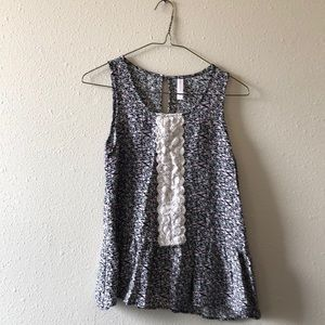 NWOT Floral Peplum Top with Lace Detail